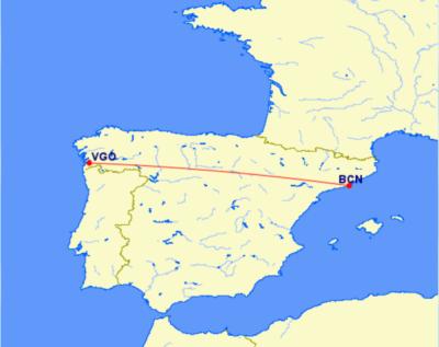 Flight map from Barcelona to Vigo Budget Travel Guide To Galicia