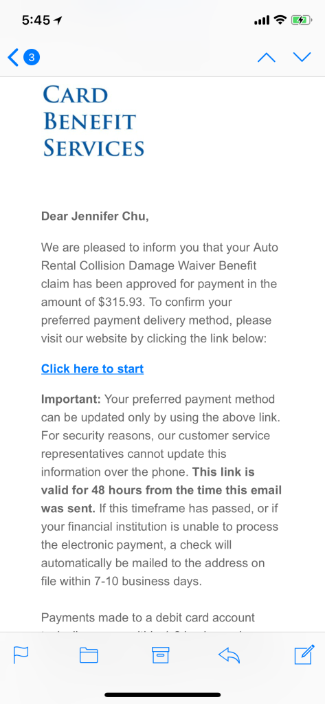 Chase Sapphire Reserve Car Insurance Claim Saved Me $315